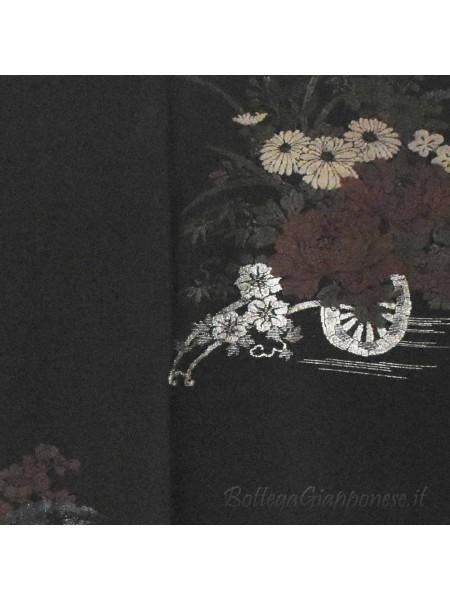 Haori giacca kimono seta colore nero carro di fiori