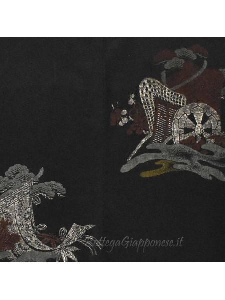 Haori giacca kimono seta colore nero carretto