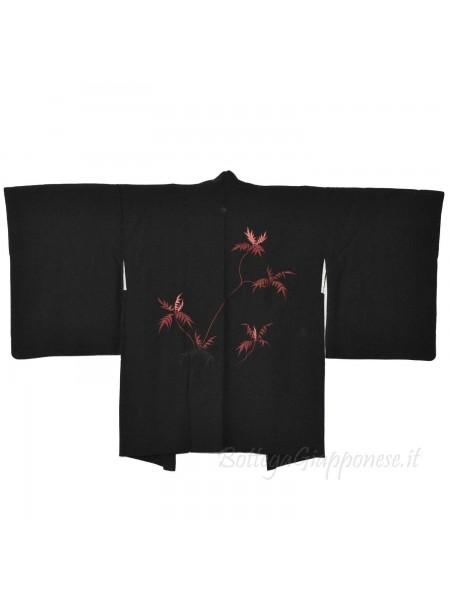 Haori giacca kimono seta nero ricamo rametti