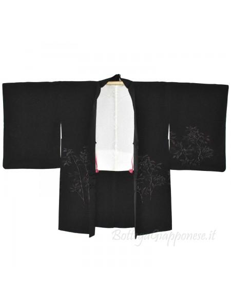 Haori giacca kimono seta nero rametti