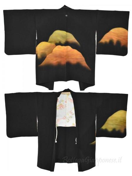 Haori giacca kimono seta nero yuzen