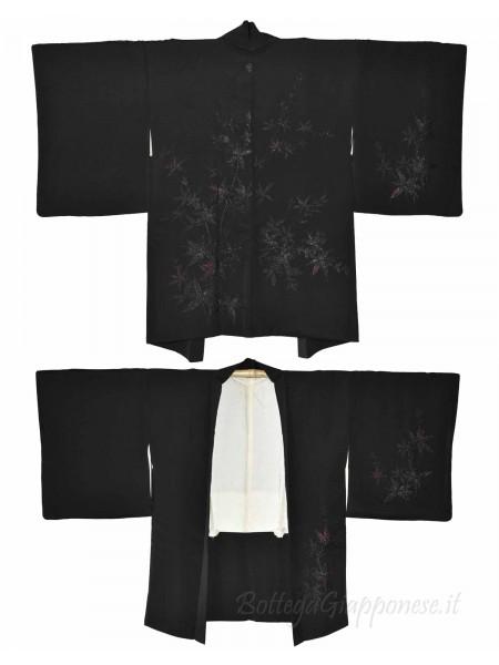Haori giacca kimono seta nero disegno foglie