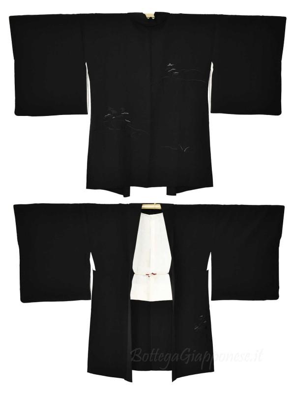 Haori giacca kimono seta nero disegno panorama
