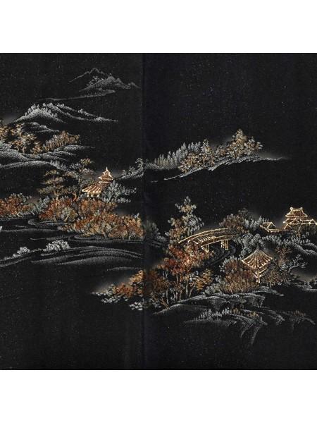 Haori giacca kimono seta disegno panorama antico
