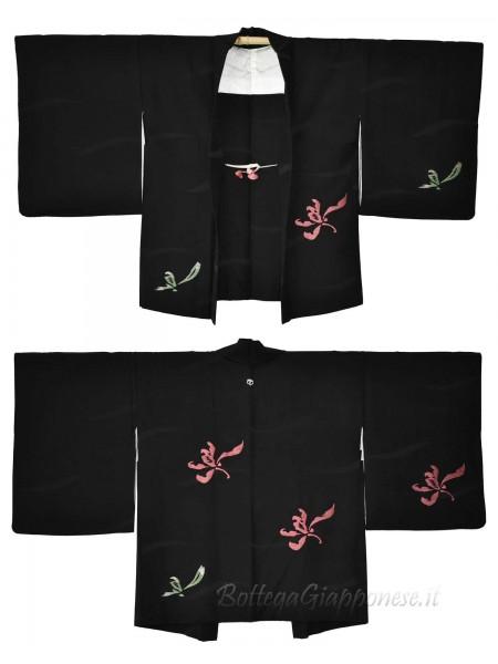 Haori giacca kimono seta nero ricamo fiori