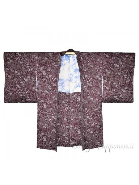 Haori giacca kimono seta viola foglie lilla