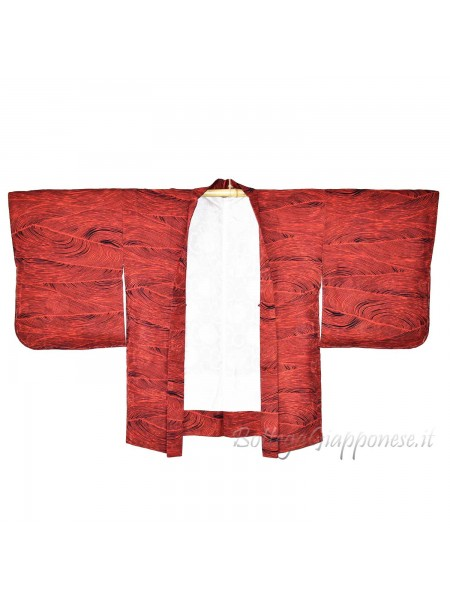 Haori giacca kimono seta rosso linee curve