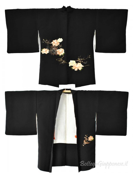 Haori giacca kimono seta nero peonia
