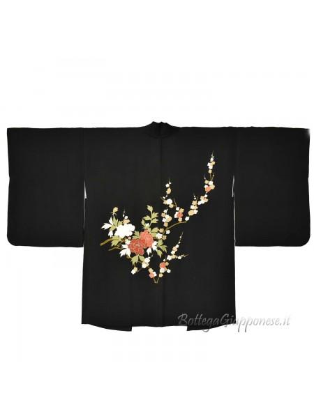 Haori giacca kimono seta nero ramo ume