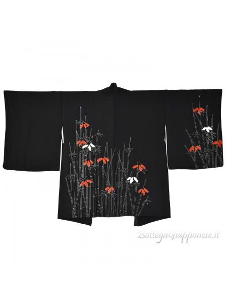 Haori giacca kimono seta nero bambù