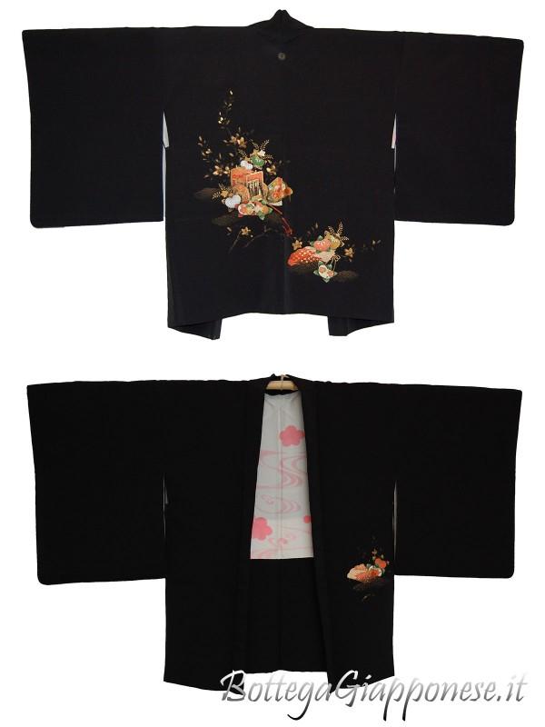Haori giacca kimono in seta carro di fiori
