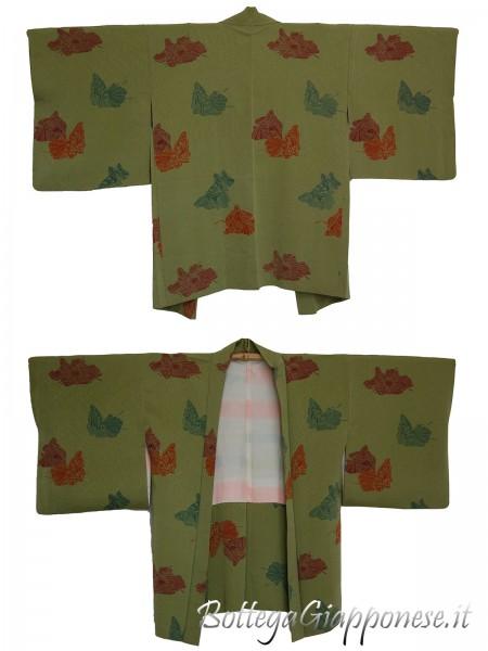 Haori giacca kimono in seta matcha hime