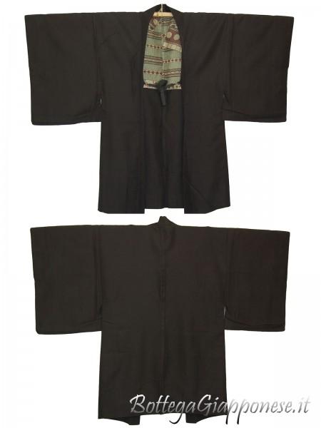 Haori uomo kimono in seta tradizionale nero