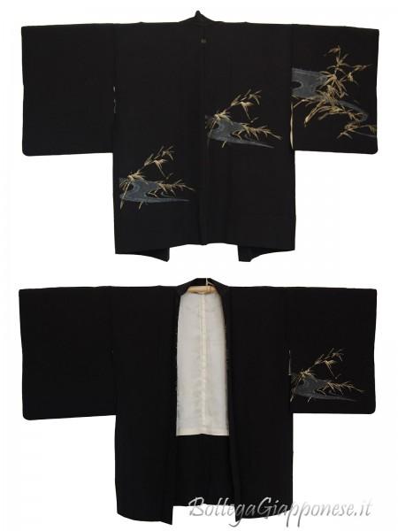 Haori giacca kimono in seta bamboo dorato