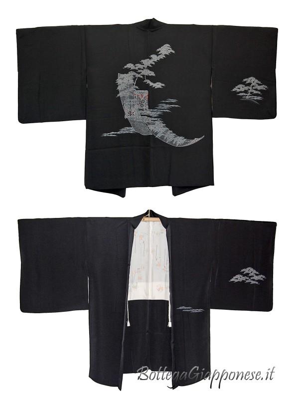 Haori giacca kimono in seta disegno Matsu