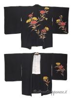 Haori giacca kimono in seta disegno Nadeshiko