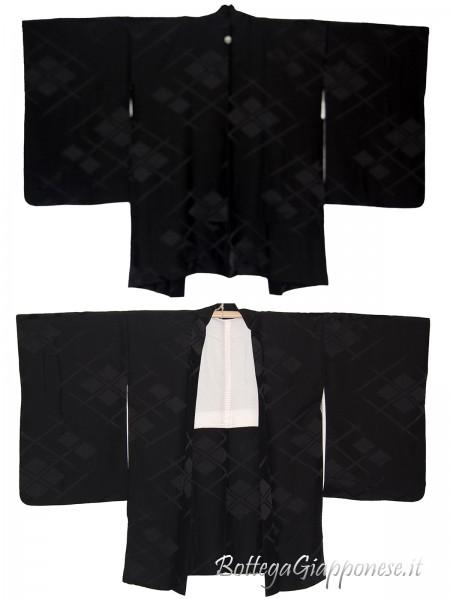 Haori giacca kimono in seta nera damascata
