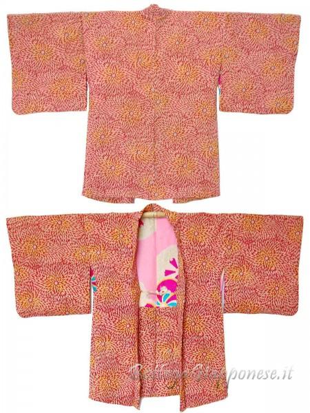 Haori giacca kimono in seta rossa