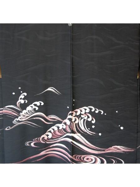 Haori giacca kimono in seta damascata onde marine
