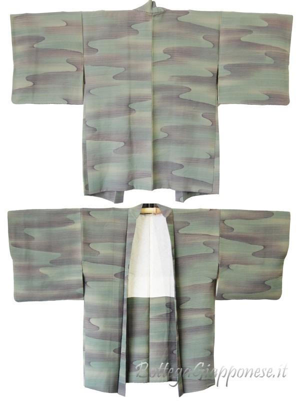 Haori giacca kimono in seta damascata verde