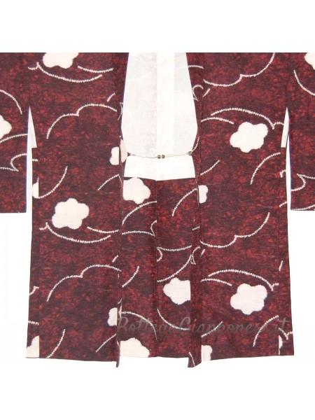 Haori giacca kimono in seta decori bianchi