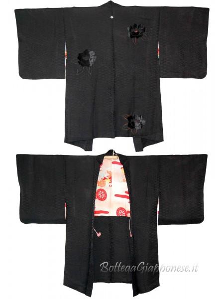 Haori giacca kimono in seta damascata nera