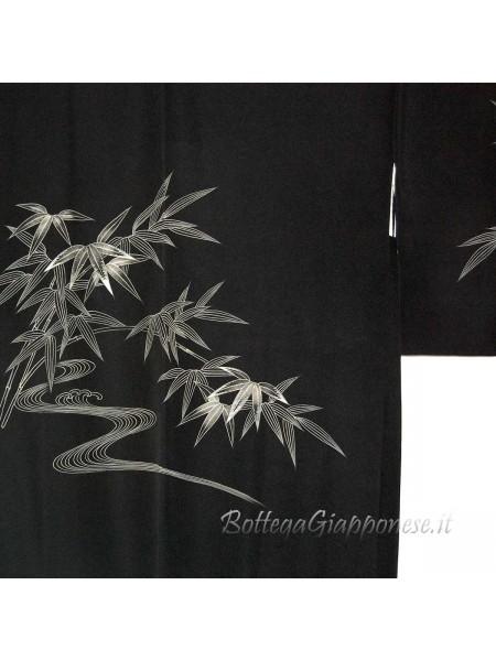 Haori giacca kimono in seta disegni bambu