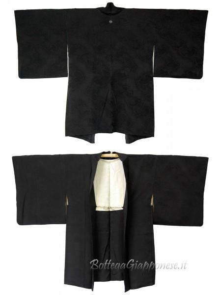 Haori giacca kimono in seta damascata sensu