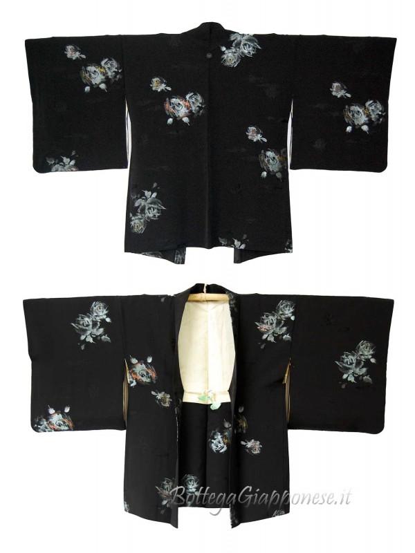 Haori giacca kimono in seta rose damascate