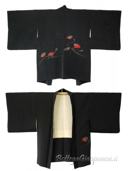 Haori giacca kimono in seta ventagli