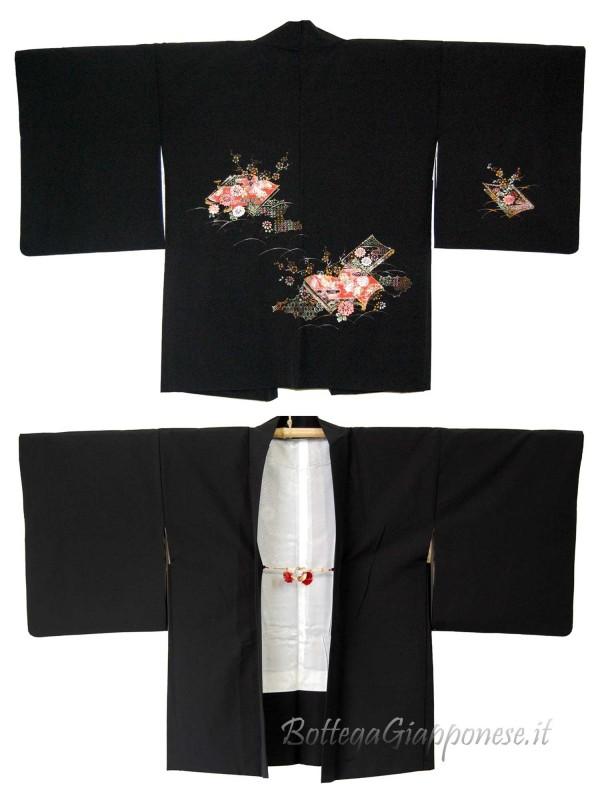 Haori giacca kimono in seta ricamo dorato