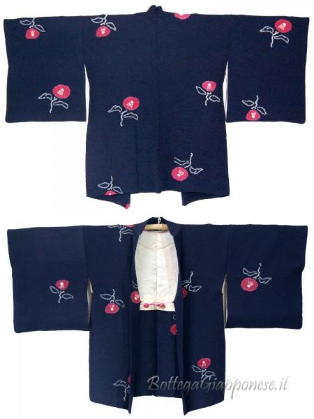 Haori giacca kimono seta blue camelia