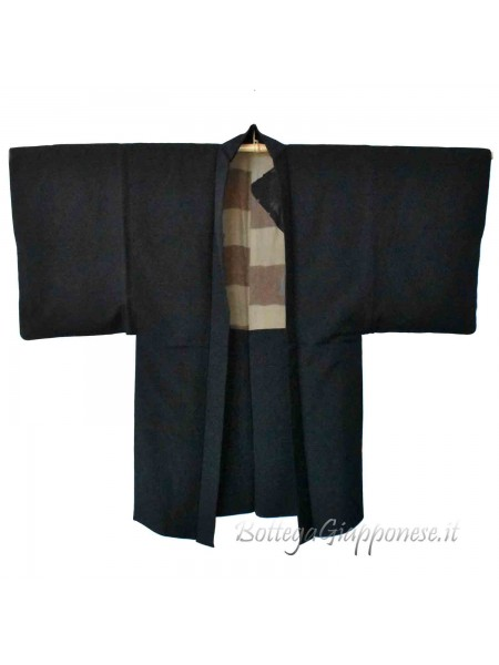 Haori uomo kimono nero lungo