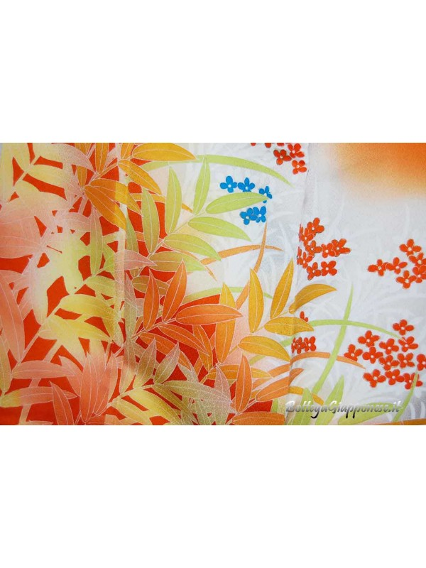 Houmongi kimono in seta damascato