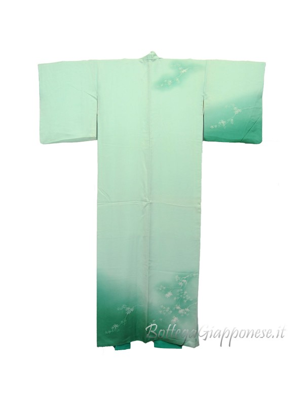 Houmongi kimono in seta damascato Verde