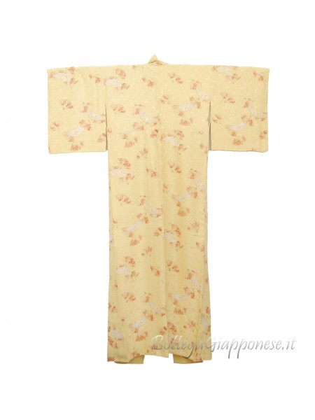 Komon kimono seta motivo giapponese sensu