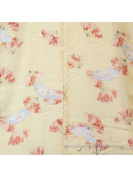 Komon kimono seta ventagli sensu