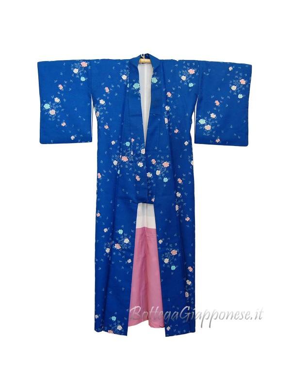 Komon kimono seta motivo giapponese peonie