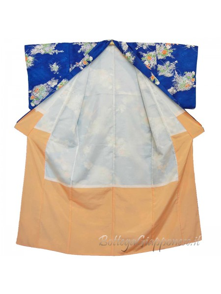 komon blu floreale kimono giapponese