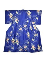 Komon kimono seta blu giapponese