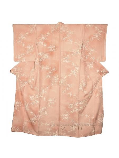 Komon kimono seta motivo sakura shiro