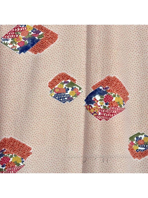 Komon kimono seta motivo pois rossi