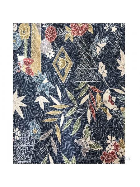 Komon kimono seta blu punti bianchi