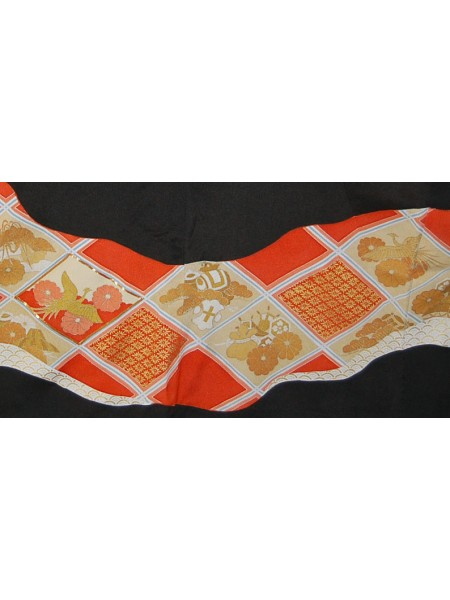 Kurotomesode kimono nero quadri