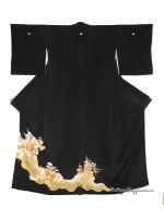 Kurotomesode kimono nero umè oro