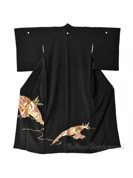Kurotomesode Kimono oro e rosso