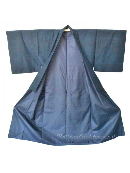 Kimono classico giapponese tessuto blu