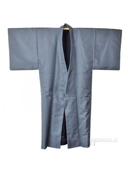 Kimono classico giapponese blu damascato