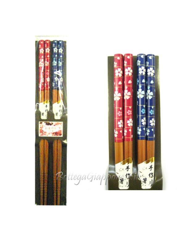 Hashi bacchette ramen coppia sakura blu-rosso