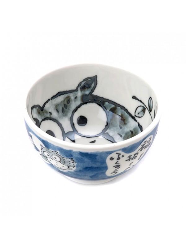 Ciotola ceramica disegno gufo (13x7,5cm) Blu